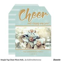 Simple Tag Cheer Photo Holiday Flat Card