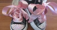 BLACK BLING CONVERSE High tops Size Infant 2 by PrincessSneakers, $69.95