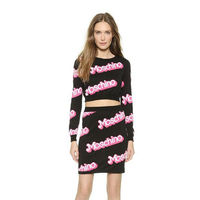 Moschino Barbie Womens Long Sleeves Sweaterset Black