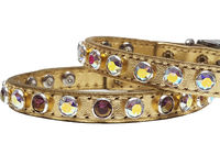 Metallic Gold Leather Dog Collars with Swarovski Crystal Bling for Extra Small Dogs, Puppies, Cats and Kittens $28.00
