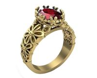 Ruby ring Milgrain Ring Art Nouveau unique Engagement ring Flower ring Solid Gold Ruby ring 14K or 18K white Yellow or Rose gold $1001.00