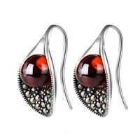 KJJEAXCMY fine jewelry 925 pure silver inlaid garnet female earrings jewelry lady jewelry $42.20