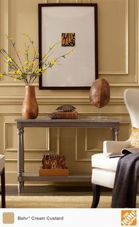 Decorators often use yellow paint to energize a room. This shade, Cream Custard from Behr Paint, is a muted yellow with just a bit of orange. It's a gorgeous backdrop for organic yellows and browns. W e have dozens of other yellow tones to choose fr...