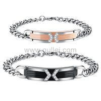 gullei.com Couples Titanium Bracelets Gift Set with Names Engraved