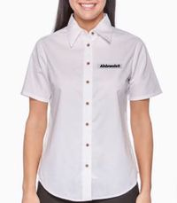 Ladies' Short-Sleeve Twill Shirt with Stain-Release by ALNBRANDS $35