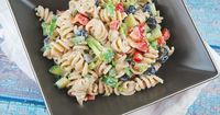 Creamy Summer Pasta Salad Recipe - 6 Points + - LaaLoosh PER SERVING: 235 calories; 7g fat; 36g carbohydrates; 8g protein; 4g fiber