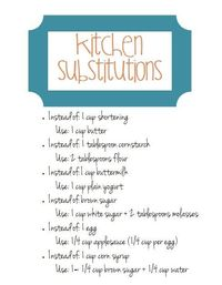 Free Download- Kitchen Substitutions