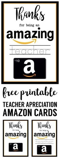 Free Printable Teacher Appreciation Amazon Card . Give your child's teacher something they actually want! Every teacher will love an amazon gift card!