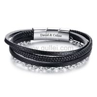 Gullei.com Engraved Mens Jewelry Wrap Bracelet Black