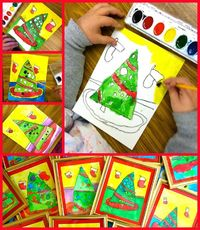 Student paintings of Christmas trees. I LOVE this and it's a perfect gift for parents!