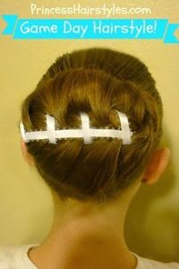 """""""Football Bun Hairstyle"""" for sports fans and crazy hair day! #football"""