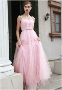 Prom Dresses Sheath Spaghetti Straps Square Floor Length Tulle Sequins