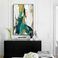 Framed wall art Gold Leaf Acrylic Abstract Paintings On Canvas green original art extra Large painting wall pictures $116.47