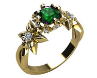 Floral ring leaves ring Art Nouveau unique Engagement ring Solid Gold Emerald ring Flower design in Yellow gold $2117.00