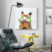 Set of 2 wall art Frog paintings on canvas acrylic palette knife framed pet painting pop art animals painting extra large wall art pictures $149.00