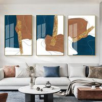 Framed painting set of 3 wall art abstract brown blue Large Wall Art geometric Paintings on Canvas gold painting 3 piece wall art pictures $198.00