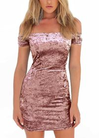 WOMEN BODYCON VELVET MINI DRESS OFF SHOULDER SHORT SLEEVE SOLID NIGHTCLUB PARTY SLASH NECK PENCIL DRESS