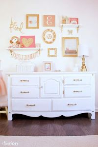 Hello! Debby from Time to DIY again, and I'm excited to share this �€˜chippy with a little glam' dresser makeover that I did for my daughter's toddler room. This