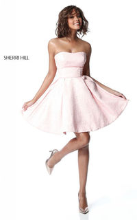 SIMPLE SHERRI HILL 51518 BLUSH STRAPLESS SHORT COCKTAIL DRESS