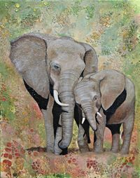 Lean On Me - Mother Elephant and Calf Acrylic Painting