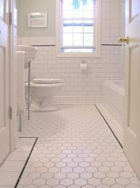 hexagon white tiles with black accent border