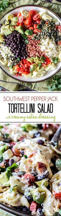 Make ahead, favorite potluck Southwest Pepper Jack Tortellini Salad = cheesy pillows of tortellini, sweet corn, black beans, avocado, bell peppers, etc. bathed in Creamy Salsa Dressing and garnished with bacon, Pepper Jack, sunflower seeds. Oh my YUM! #to...