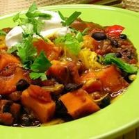Sweet Potato and Black Bean Chili - Allrecipes.com I used all ground turkey, one more sweet potato & added more cinnamon at the end of cooking. Next time may add cinnamon stick while cooking.