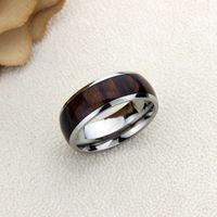 Inside Custom Engraving Personalized Titanium Wedding Band Promise Ring 8mm Polished Domed Santos Rosewood Inlay Ring - ZDPTI431 $45.05