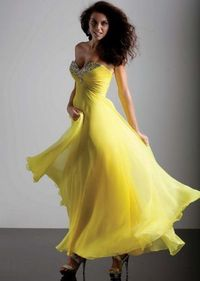 Sparkly Top Yellow Strapless Long Prom Dresses