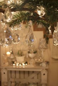 crystals from vintage/ antique chandeliers make perfect Christmas ornaments