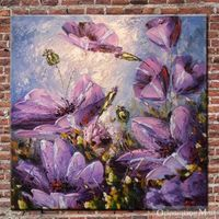 Hand Painted On Canvas Flowers Oil Painting