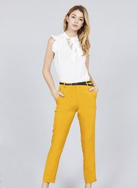 Plus Size Classic Mustard Woven Pants with Belt $24.00