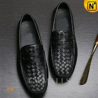 CWMALLS Mens Woven Leather Moccasins CW706165