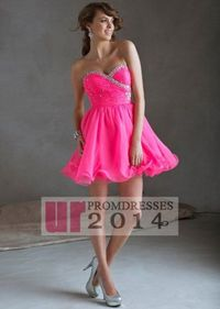 Crystal Beads Neon Pink Ruched Bodice Short Strapless Dress