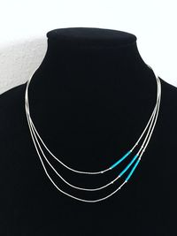 Liquid Silver Turquoise Necklace Three Strand Collar Southwestern Sterling Silver Choker Tube Beads Gift for Her Boho Style $65.00