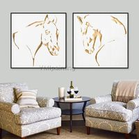 Gold art Horse decor Acrylic Paintings on Canvas Animals Painting Large wall art Wall pictures Home Decor farmhouse decor cuadros abstractos $59.00