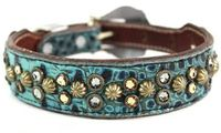 Turquoise Leather Dog Collar with Swarovski Crystal bling | Western Dog Collar for Small to Large Dog Breeds $165.00