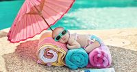 If I ever have a child, I WILL do this photo shoot! Cutest poolside baby.