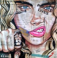 """Buy Prints of """"New Tattoo"""", a other on Canvas by Conrad Crispin Jones from Spain. It portrays: People, relevant to: portrait, supermodel, tattoo, Popart, cara d"""