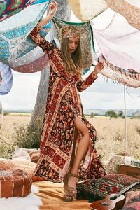 Long Sleeve Vintage Holiday Style Bohemian Long Maxi Dress $40.10
