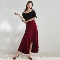 Must-have Elegant Split Asymmetrical High Waisted Draping One Color Mid-length Skirt Skirt - Bonny YZOZO Boutique Store