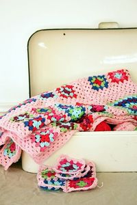 granny square afghan, pink backgrounds and granny square blanket.