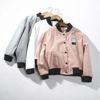 Must-have Vogue Embroidery Appliques Corduroy Spring Coat Baseball Jacket Jacket - Discount Fashion in beenono