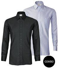 Blue Oxford and Black Satin Button Down Shirt Combo Pack �'�2499.00