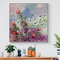 Framed wall art Abstract floral Rose painting knife Paintings on Canvas original extra Large Wall Pictures Original painting heavy texture $148.75