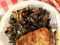 Braised Collard Greens w/Bacon (from Kelsey's Essentials, Cooking Channel)