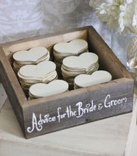 Fun idea! In lieu of traditional guestbook: Advice hearts. Would be cute made from glitter cardstock.