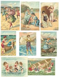 vintage collage, beach illustration and beach beauty.