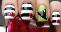 Adorable Nail Art - WICKED nails-love the stripes and flower! Not a big fan of the green and witch hat!