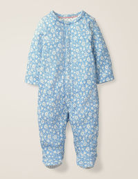 Printed Cosy Sleepsuit - Light Sky Blue Vintage Floral $34